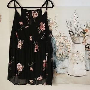4X Torrid Black Floral Babydoll Cami Adjust.Straps